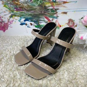 ASOS women's nude heeled mules sandals